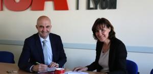 Éric Maurincomme, directeur de l'INSA Lyon, et Marie-Christine Baietto, directrice de FEDORA - © INSA Lyon